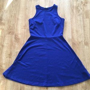 H&M Royal Blue Fit and Flare Racer Back Dress